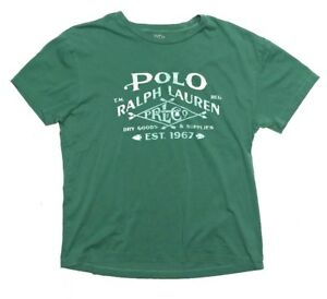 Polo Ralph Lauren Mens Graphic T Shirt XL Custom Fit Green Country Dry Goods