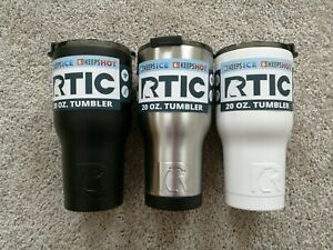 NEW RTIC 20oz Tumbler Black Matte Camo Navy Red Stainless White