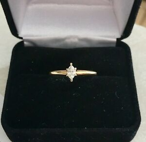 14k Gold Diamond Engagement Ring Marquise Solitaire 13 CARAT size 7