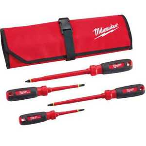 Milwaukee 48 22 2204 4pc 1000V Insulated Screwdriver Set w Roll Pouch New $39.99