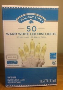 Holiday Time 50 Warm White LED Mini Lights Christmas Wedding NEW White Wire $8.95
