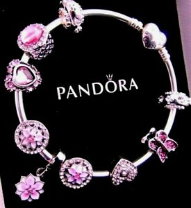 PANDORA CHARM BRACELET WIFE MOM PINK POETIC BLOOMS BIRTHDAY GIFT BOX