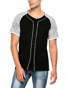 Hotouch Men Button Down Raglan Baseball Jersey Short Sleeve Sport T-Shirt