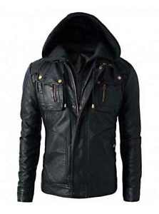 Men's Motorcycle Brando Style Biker Real Leather Hoodie Jacket - Detach Hood