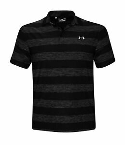 Under Armour Performance Men's Striped Golf Polo Shirt Anti Odor UPF 30 Top