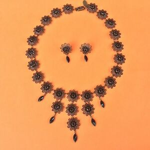 Black Crystal Necklace And Earring Set by Designer Kenny Ma GF Formal Jewelry