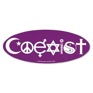 S071 Coexist Oval Bumper Sticker Bright Purple Peace Symbol Yin Yang Peace Sign