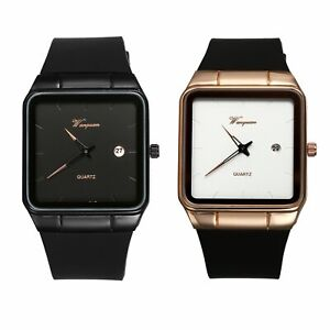 Fashion Womens Mens Square Face Date Silicone Strap Quartz Analog Wrist Watch