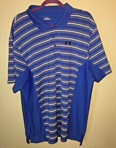 Under Armour Men's Golf Polo Shirt Blue White Striped Logo XXL Dry Fit NICE!