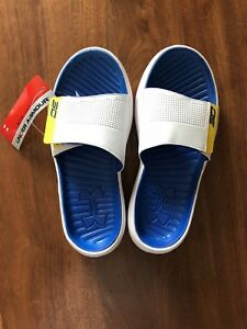 New Under Armour Youth Boys Curry III Slides Size 6 Golden State Warriors