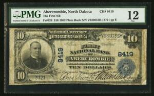 1902 $10 Plain Back Abercrombie North Dakota ND PMG 12 ITS THE ONLY 1 ON CENSUS