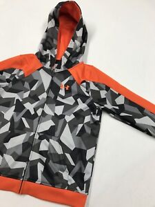 UNDER ARMOUR Hoodie Loose Camouflage Full Zip Gray Orange Size Boys Youth L