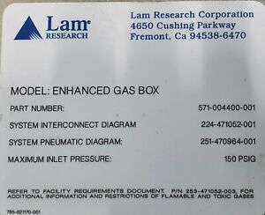LAM ENHANCED DIGITAL GAS BOX PN: 571-004400-001002003004