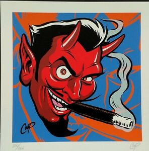 Coop Art lithograph Devil with Cigar litho Signed Limited Edition $46.66