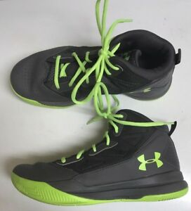 Under Armour Jet Basketball Shoes Size 6.5Y Girls Youth Women's Grey with Green
