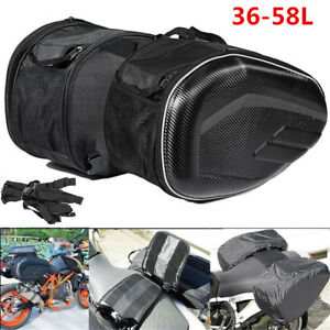 Universal Motorcycle Saddle Bags Luggage Helmet Tank Bags 36-58L with Rain Cover
