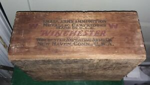 ANTIQUE 1920 WINCHESTER AMMUNITION ARMS WOODEN FACTORY BOX