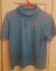 (4) YOUTH LARGE GOLF SHIRTS NIKE AND UNDER ARMOUR