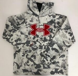 Under Armour STORM Hoodie Youth Boys YLG Loose Big Red Logo Gray White Camo