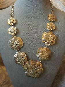 NWT Natasha Gold & Crystal Floral Bib Statement Necklace Ret $124.98 Lead Free
