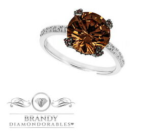 Brandy Diamondorables® Chocolate Brown 14K White Gold Silver Solitaire Ring 4.7C
