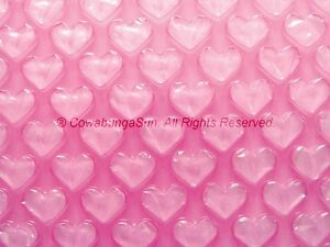 PINK HEART BUBBLE AIR CUSHION WRAP 8quot; x 30ft Roll Special Festive Romantic Gift