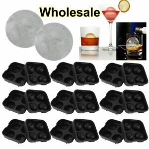 4 Balls Whiskey Ice Cube Maker Mold Sphere Mould Party Tray Round Bar Silicone V