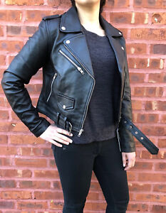 Womens Genuine Leather Classic Crop Biker Jacket Lamb Moto Black  S M L XL 2XL