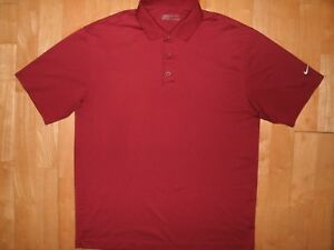 NIKE GOLF Mens Athletic DRI-FIT Large L Maroon Crimson Red Sport POLO Shirt