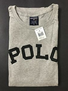 NEW OLD STOCK VINTAGE RALPH LAUREN POLO SPORT SPELLOUT TSHIRT GREY XL SUPREME L