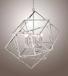 Caged Cubist Pendant 6 Light Multifaceted Frame Interlock 26