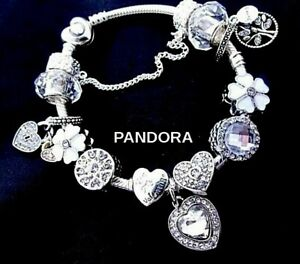 PANDORA BRACELET WHITE CHARMS WIFE MOM BIRTHDAY STOPPER FAMILY HEARTS GIFT BOX