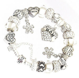 Authentic Pandora Bracelet Silver with MOM Heart Family Mother European Charms