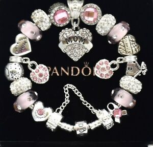 Authentic Pandora Bracelet Silver with MOM WIFE Family Pink European Charms NIB