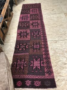 3 X 10 Pink Kilim Runner Rug Turkish Overdyed 70's Vintage Flatweave Carpet