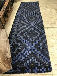 3 X 11 Blue Kilim Runner Rug Turkish Overdyed 70's Vintage Flatweave Carpet