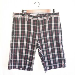 Oakley Shorts Mens Sz 34 Plaid Embroidered Logo Casual Checkered Red Black B5