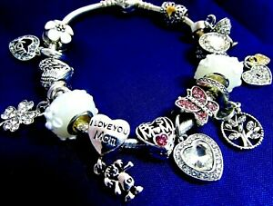 PANDORA BRACELET MOM DAUGHTER CHARMS ST. PATS CLOVER FAMILY BIRTHDAY GIFT BOX