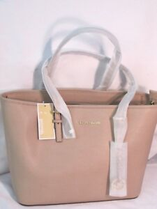 Michael Kors Jet Set Travel Top Zip Tote Blush Pink Saffiano Leather Bag $278
