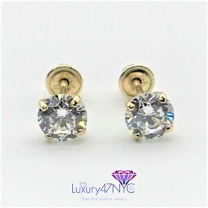 0.50 CT Real 14K Solid Yellow Gold Round Diamond Stud Earrings Screw Back