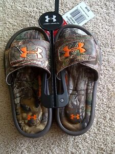 NWT UNDER ARMOUR Boy's Camo Slides size 12 Kids Youth RealTree Flip Flops