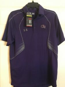 Georgia Tech Mens Purple Under Armour Polo Size Small Nwt $35.00