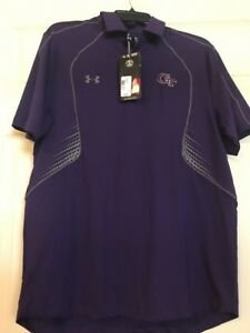 Georgia Tech Mens Purple Under Armour Polo Size Medium Nwt $35.00