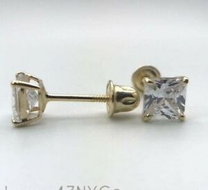 12 Carat Princess Cut Diamond Studs Earrings Real 14K Yellow Gold Screw back