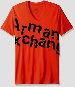 AX Armani Exchange Broken Logo Short-Sleeve V-Neck Tee T-Shirt Cotton NWT