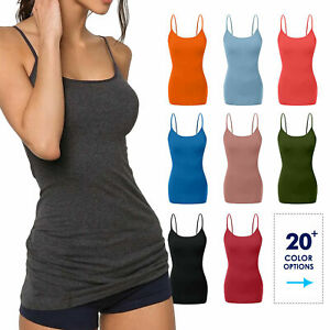 Womens Cami Tank Top Tops Long Layering Casual Basic Camisole Plain Plus S 3XL $8.99