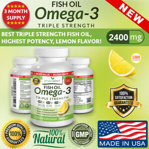 BEST TRIPLE STRENGTH Omega 3 Fish Oil Pills 3 MONTH SUPPLY 2500mg HIGH POTENCY