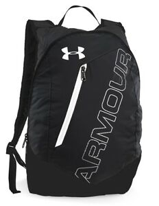 NWT UNDER ARMOUR UA Storm Packable Backpack Black w White Mens Womens # 1256393