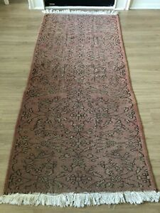 VINTAGE OUSHAK WOOL TURKISH HANDMADE RUNNER RUG 7'x 3'3