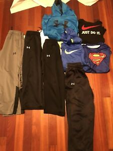 BOY'S SIZE LARGE XL LOT OF 8 UNDER ARMOUR Nike Hoodie Tops Pant